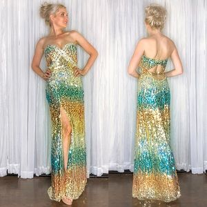 Gold Ombré Sequin Strapless Prom Dress